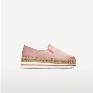 Zara Silk Satin Platform Espadrille Sneakers